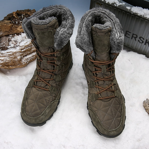 Men Warm Fur Plush Suede Leather & Waterproof Ankle Snow Boots