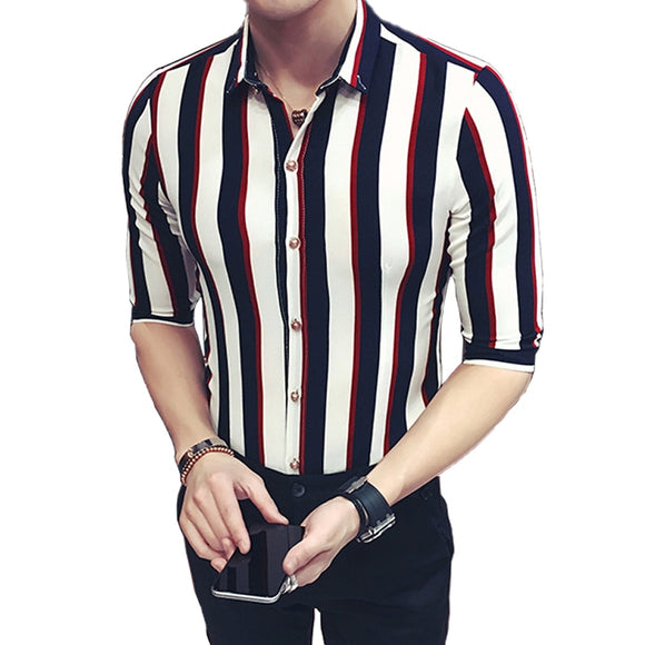New Cool Summer Men's Striped Boutique Short-sleeve Shirts