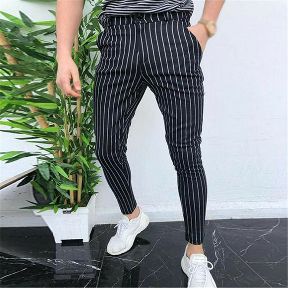 Men`s Straight Skinny Plaid Trousers Casual Slim Fit Stripe Formal Pants