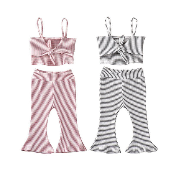 Summer Toddler Infant Set Striped Bow Sleeveless Sling Vest Tops Pants