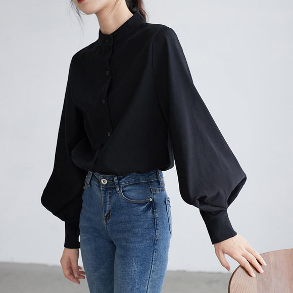 Big Lantern Sleeve Blouse Women Single Breasted Stand Collar Shirt