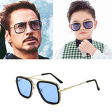 Lentes Tony Stark Kids Sunglasses Alloy Glasses Iron Man Sun Glasses