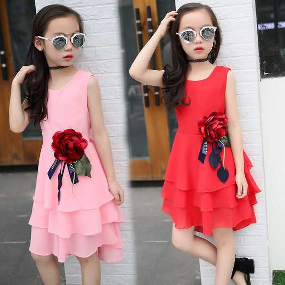Summer big flower chiffon girl dress sleeveless solid color dress 3-12 years