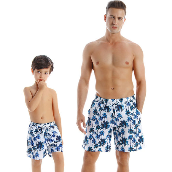 Summer Father Son Matching Beach Shorts Quick Dry Surf Swimwear