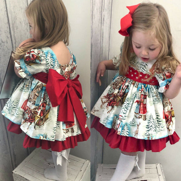1-6T Christmas Princess Dress Toddler Girls Outfits Bowknot Party