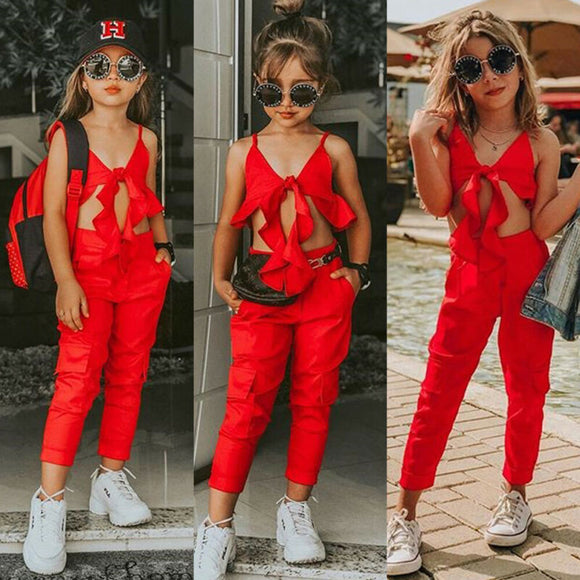 Summer Solid Red Sling Tops Vest Long Pants Girls Outfits Clothes Set