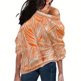 Women Blouses Off Shoulder Tops Striped Print Knitted Tops