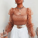 Women Square neck Lace See-through Polka Dot Puff Crop Tops