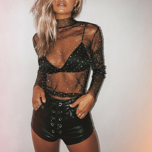 Sexy Women's See-through Crystal Rhinestone Sequins Glitter Mesh Blouse