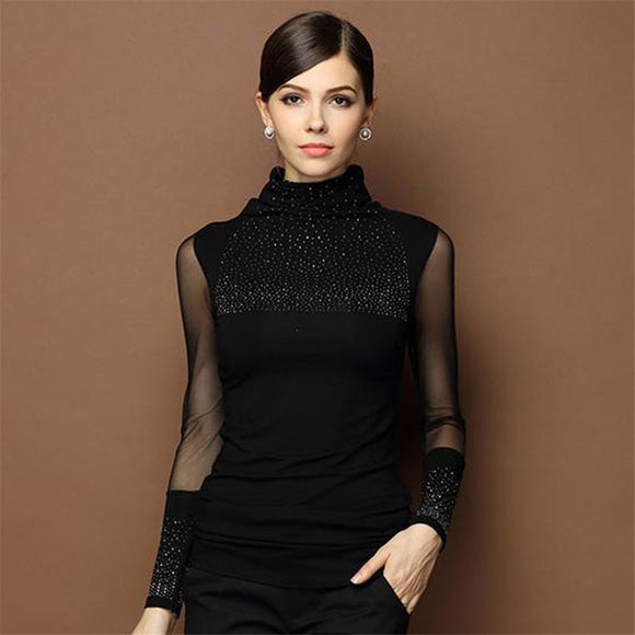 Sexy Lace Women Slim Blouse Long Sleeve Casual Shirt Beaded