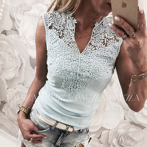 Women Summer Lace Solid Sleeveless Casual Tank Hollow Back Shirt