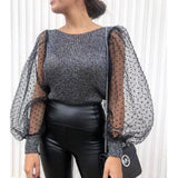 Elegant Knitted Patchwork Blouse Puff Sleeve O-neck Streetwear