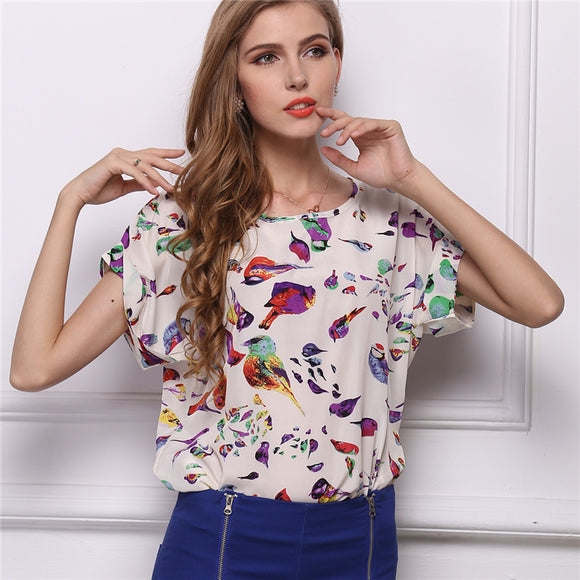 Women Elegant Blouses Tops And Blusas Batwing Sleeve Casual Shirts