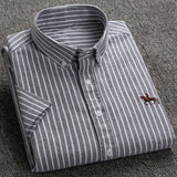Summer Short Sleeve Turndown Collar Regular Fit Oxford Fabric Shirts