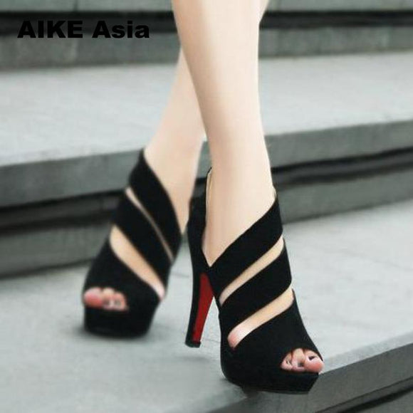Summer Gladiator High Heels Peep Toe Casual Shoes Waterproof Platform Sandals
