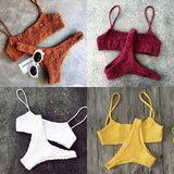 Women Swimwear Push-up Padded Bra Bandage Bikini Set