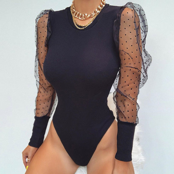 Mesh Patchwork Sexy Transparent Puff Sleeve Women's Polka Dot Bodysuit