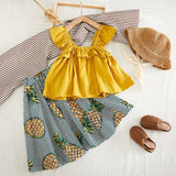 Summer White Shirt + Leopard Cake Skirt 2 Pieces Necklace Sets