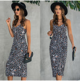 Women Summer Print Backless Sexy V Neck Sleeveless Cotton Dress