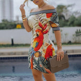 Summer Women Elegant Slim Fit Print Bodycon Party Casual Dress