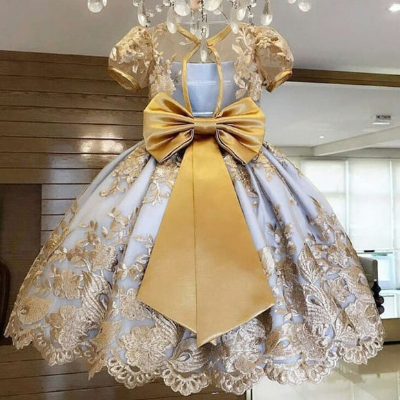 Girls Elegant Princess Party Dress Wedding Gown Vestido Wear