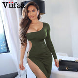 Viifaa One Shoulder Cut Out Side Asymmetrical Hem Bodycon Ruched Midi Party Dress