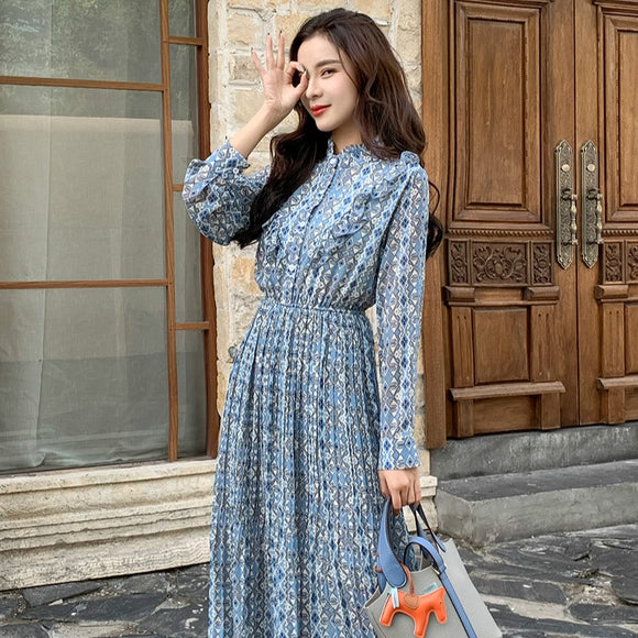 Women Chiffon Summer Long Sleeve Printed Pleated Dresses