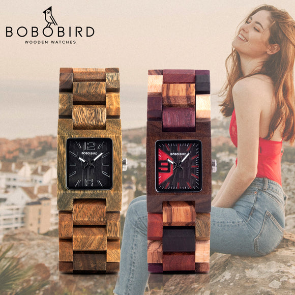 BOBO BIRD 25mm Small Women Watches Wooden Quartz Wrist Watch Best Girlfriend Gifts in wood Box