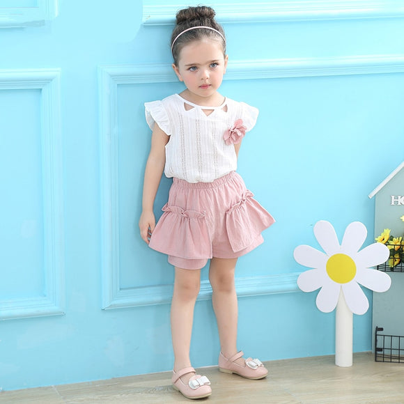 Summer Clothing Fashion girl Flowers T-shirt Tops And Shorts Pants