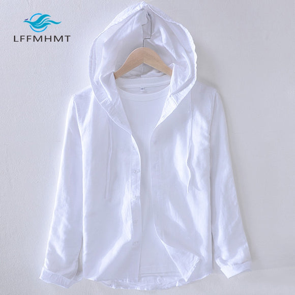 Men Striped Cotton Linen Hooded Shirt Casual Long Sleeve Shirt Cloth