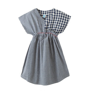New Cotton Patchwork Dress Kids Plaid Dress for Teen Baby V-neck