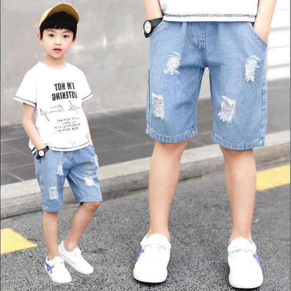 Summer Ripped jean Short Casual Light Blue Solid Kids Denim Pant 110-160cm