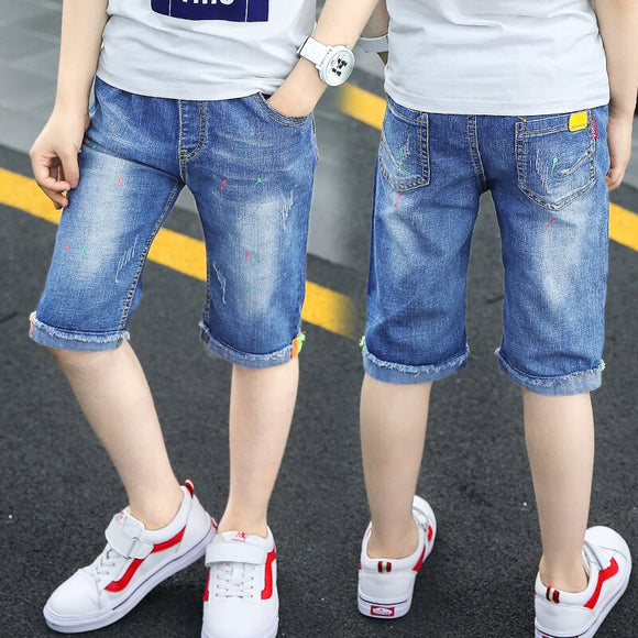 summer children's clothes boys shorts casual curling denim