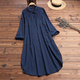 ZANZEA Women Long Cotton Tunic Shirts Dress Office Lady Work Dress