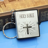 Cute Mini English HOLY BIBLE Religious Christian Cross Keyrings Gift