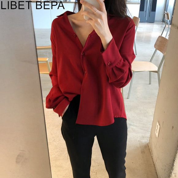 Women's Fashionable Single Breasted Shirt Loose Minimalist Style Tops