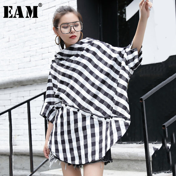 Black Plaid Big Size Blouse Slash Neck Three-quarter Loose Fit Shirt