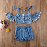 CANIS Summer 3Pcs Spaghetti Strap Polka Dots Tops+Ruffle Dress+Shorts