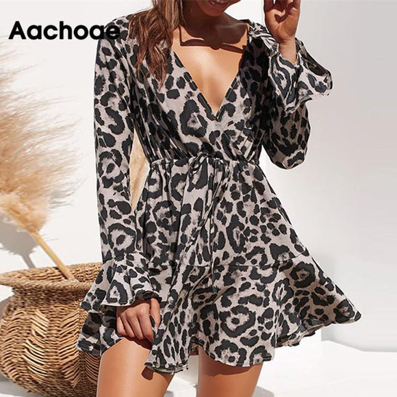 Summer Chiffon Women Leopard Print Boho Beach Dress Ruffle Long Sleeve A-line