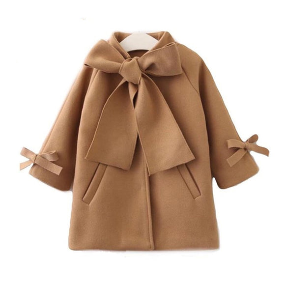 Winter Autumn Baby Girls Coat Warm Wool Bowknot Trench Overcoat Long Sleeve Jacket