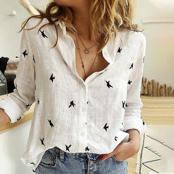 Women's Birds Print Shirts Blouses Cotton Linen Long Sleeve