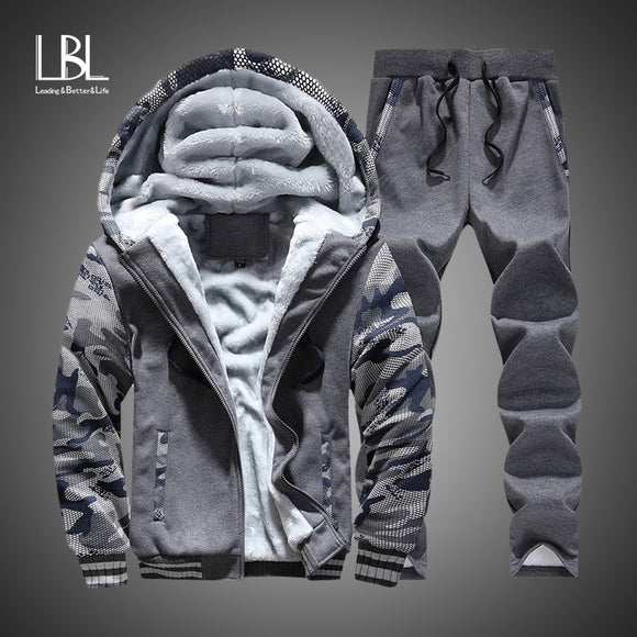 Winter Tracksuits Men Set Thick Fleece Hoodies & Pants Suit