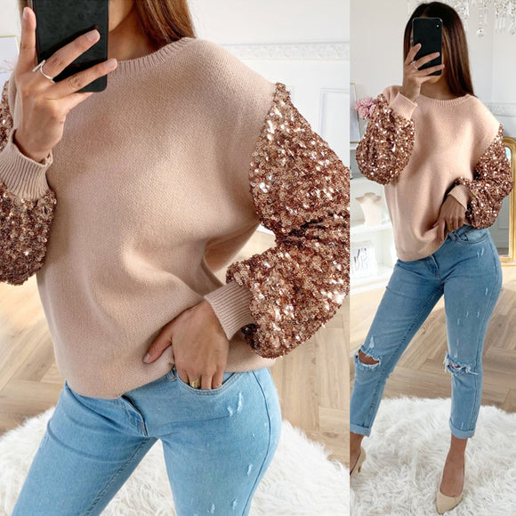 Women Sweater Tops Lantern Long Sleeve Sequins Bling Pullover
