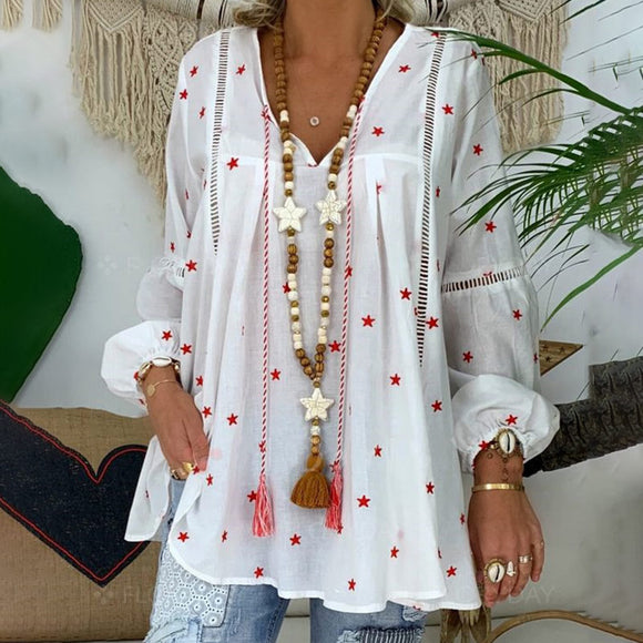 White Elegant Lantern Long Sleeve Womens Blouse Plus Size 4XL Boho Printed Clothes