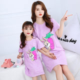 Summer Nightgown Pajamas kid Short sleeved nightdress cute 100% cotton