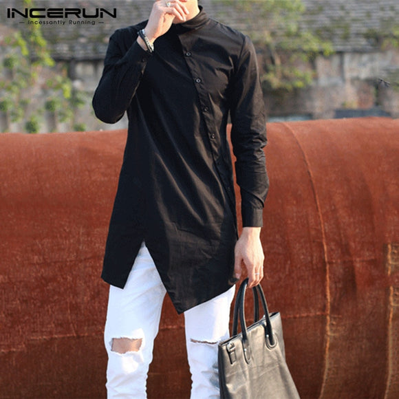 INCERUN Men Irregular Shirts Lapel Button Long Sleeve Chic Solid Color
