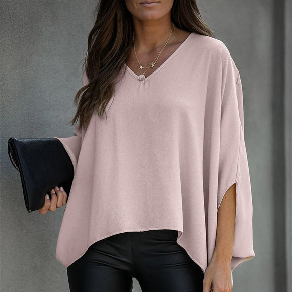 Batwing Sleeve Tunic Irregular Blouse V-neck Solid Female Blouses
