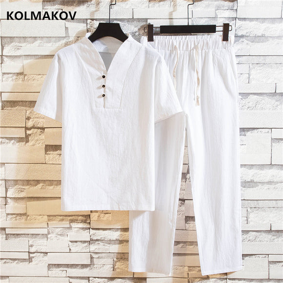 Summer fashion men shirt Man Cotton and linen shirts Short sleeve (Shirt + trousers)