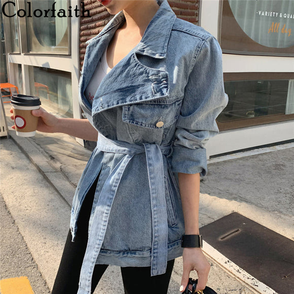 Colorfaith Women's Denim Jackets Turn-down Collar Sashes Asymmetrical Jeans Tops