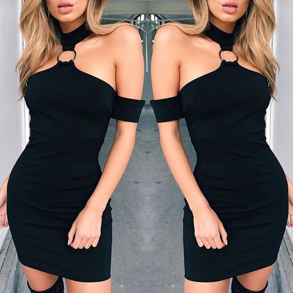 Women sleeveless solid Party Polyester Bodycon Off Shoulder Mini Dress